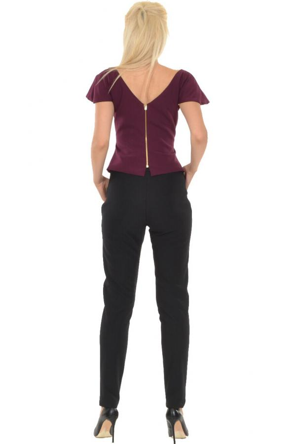 Bellino,  Μπλούζα top με θηλυκό ντεκολτέ και με βολάν στο μανίκι (ΜΩΒ, L)
