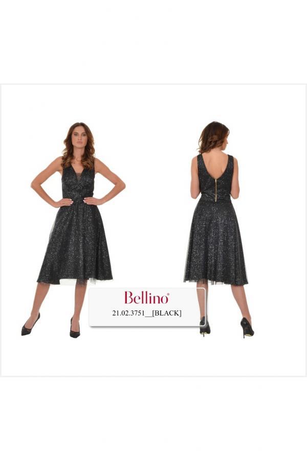 Bellino,  Μπλούζα σε τούλι ιριδίζον με θηλυκό ντεκολτέ (ΜΠΡΟΝΖΕ, L)