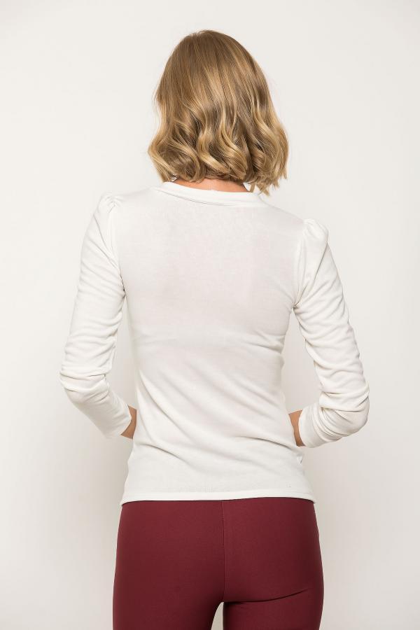 Bellino,  Μπλούζα με σούρες εμπρός σε στενή γραμμή (ΕΚΡΟΥ, XL)