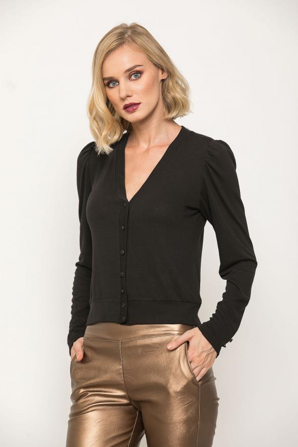 Bellino,  Μπλούζα με κουμπιά εμπρός και στα μανίκια (ΜΑΥΡΟ, XL)