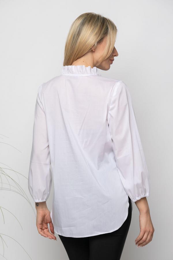 Bellino,  Μπλούζα σε άνετη γραμμή με βολάν (ΛΕΥΚΟ, L)