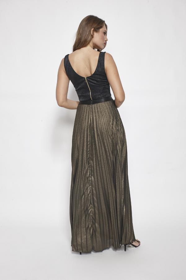 Bellino,  Φούστα maxi σε ζορζέτα πλισέ με σατέν λάστιχο στη μέση (ΧΡΥΣΟ, M)