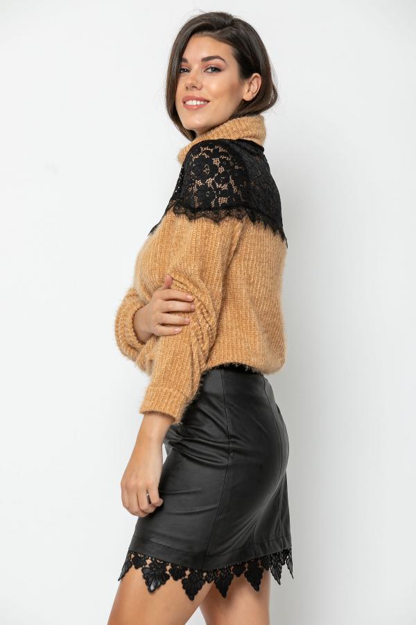 Bellino,  Φούστα mini σε δερματίνη με δαντέλα στο τελείωμα (ΜΑΥΡΟ, L)