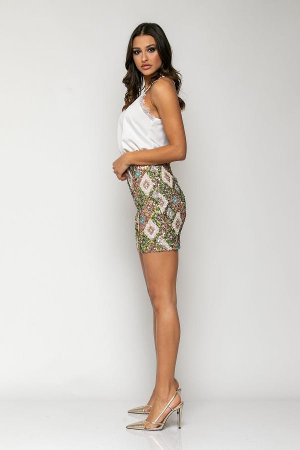 Bellino,  Φούστα mini σε ελαστική παγιέτα (ΠΡΑΣΙΝΟ, M)