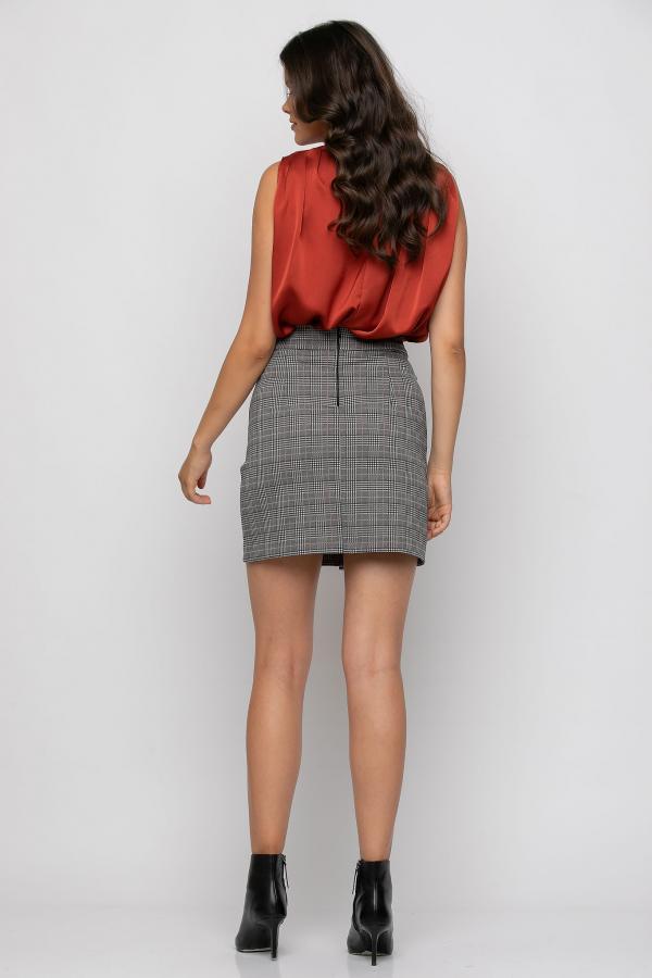 Bellino,  Φούστα mini σε καρώ ελαστικό (ΚΑΦΕ, L)