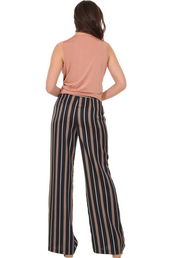 Bellino,  Παντελόνι ψηλόμεση με μπάσκα στη μέση (ΜΑΥΡΟ, L)
