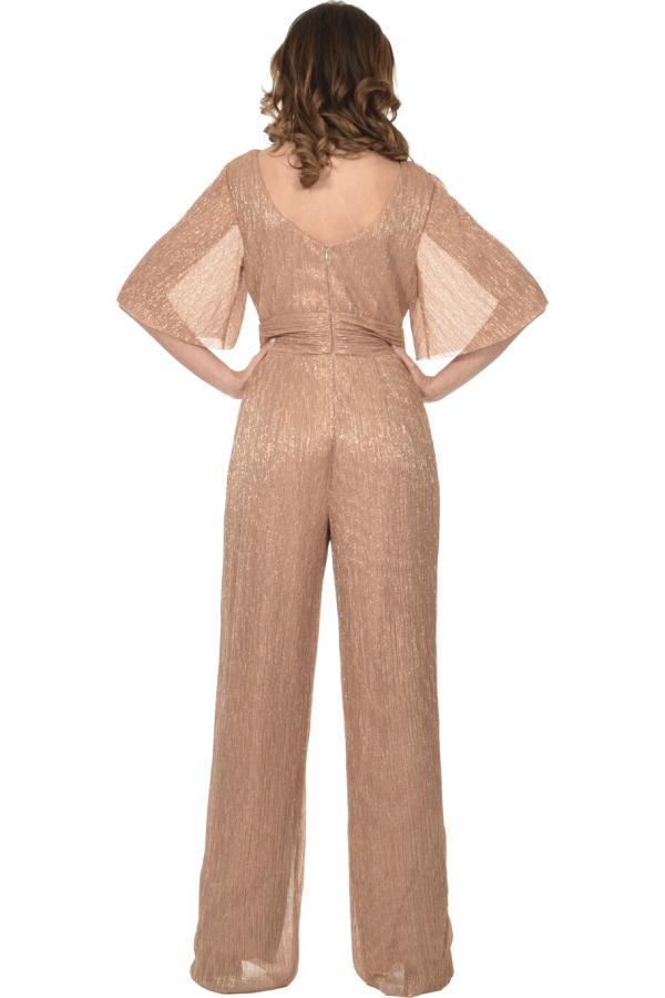 Bellino,  Παντελόνι - φόρμα lurex κρουαζέ με φαρδύ μανίκι (ΜΠΡΟΝΖΕ, XL)