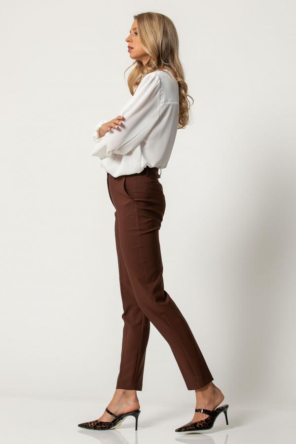 Bellino,  Παντελόνι τσίνο ψηλόμεσο με τσέπες και φιλέτα πίσω (ΚΑΦΕ, XXL)