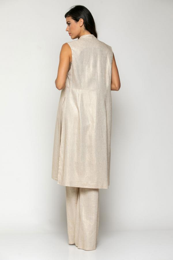 Bellino,  Παντελόνα σε λινό foil με ζώνη στη μέση (ΜΠΕΖ, L)