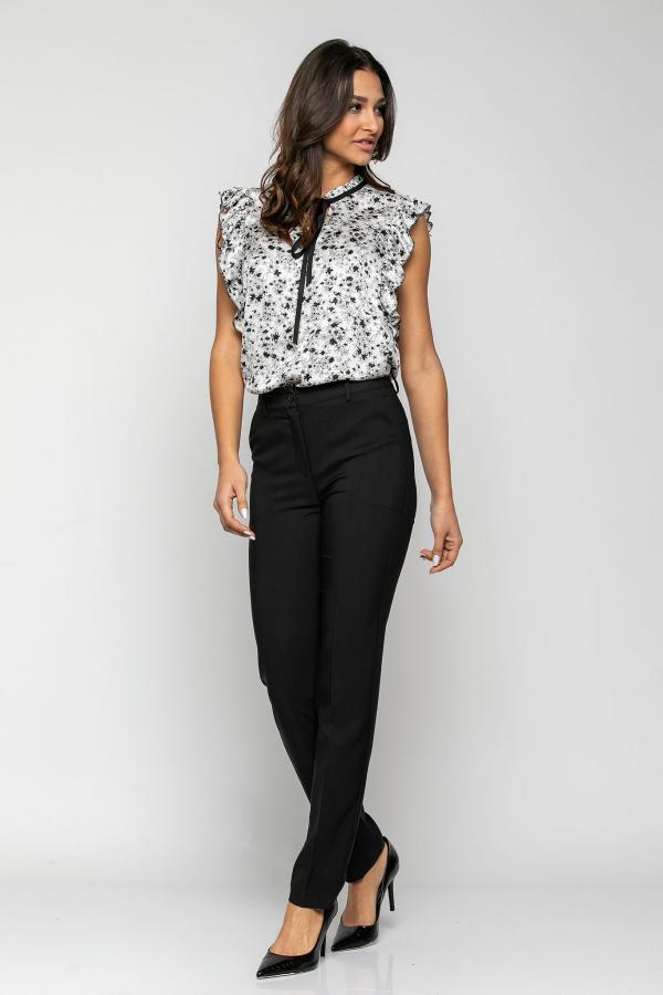 Bellino,  Παντελόνι τσίνο ψηλόμεσο με τσέπες εμπρός και φιλέτα πίσω (ΜΑΥΡΟ, XL)