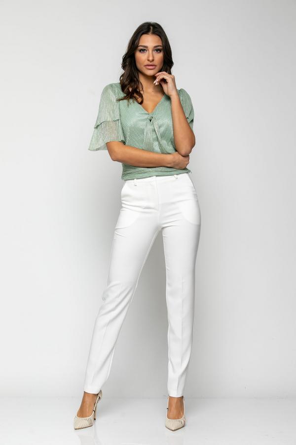 Bellino,  Παντελόνι τσίνο ψηλόμεσο με τσέπες εμπρός και φιλέτα πίσω (ΕΚΡΟΥ, M)