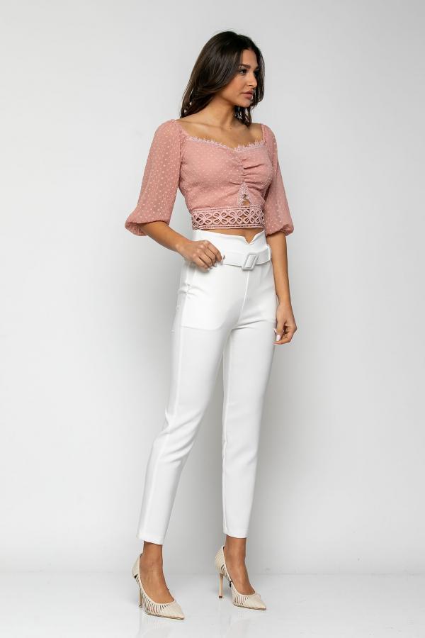 Bellino,  Παντελόνι cigarette με extra ζώνη στη μέση και τσέπες εμπρός (ΕΚΡΟΥ, L)