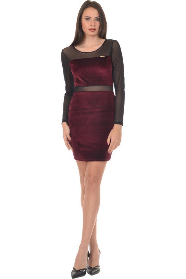 Bellino,  Φόρεμα στενή γραμμή μίνι βελούδο (ΜΠΟΡΝΤΟ, M)