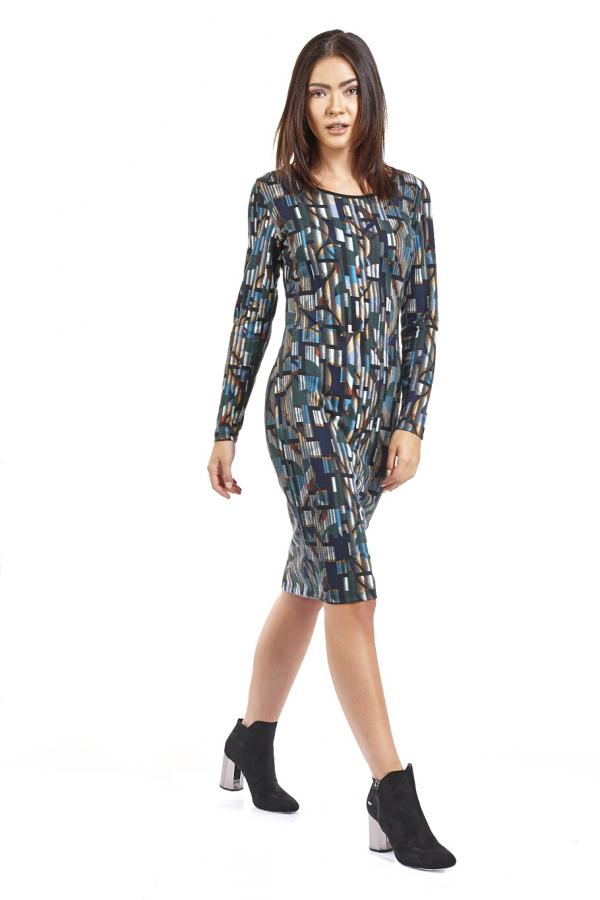 Bellino,  Φόρεμα πλεκτό σε στενή γραμμή (ΠΕΤΡΟΛ, S)