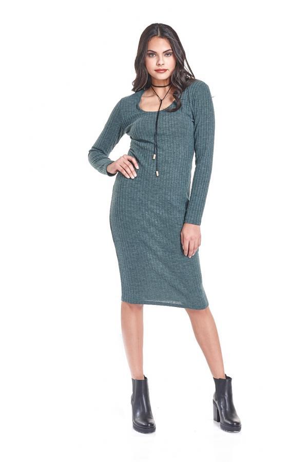 Bellino,  Φόρεμα πλεκτό midi σε στενή γραμμή (ΠΡΑΣΙΝΟ, L)