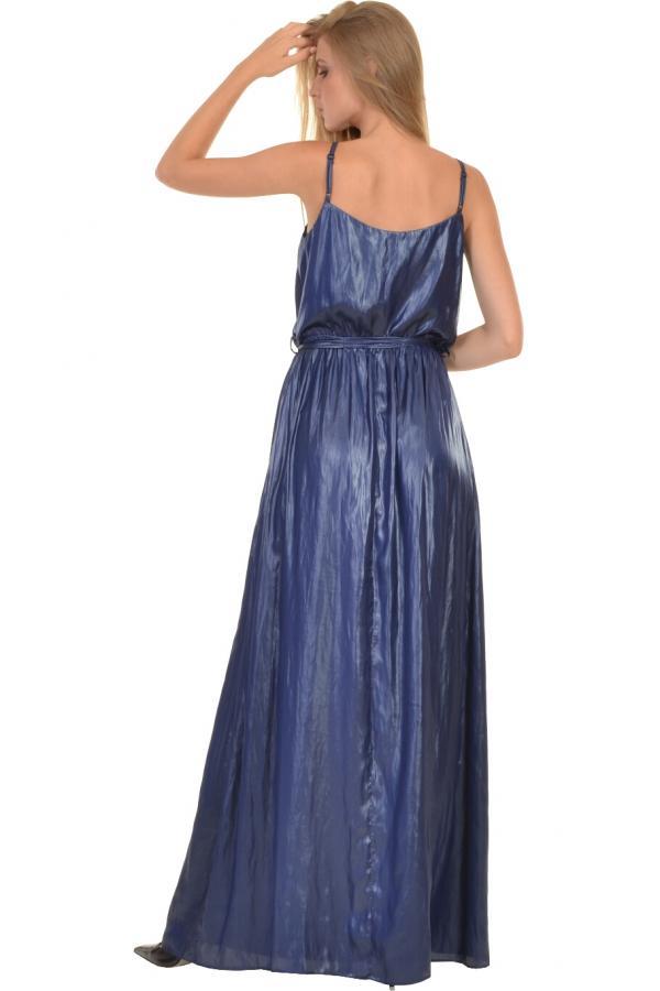 Bellino,  Φόρεμα maxi με ντραπέ εμπρός και ζώνη στη μέση (ΜΠΛΕ, S)