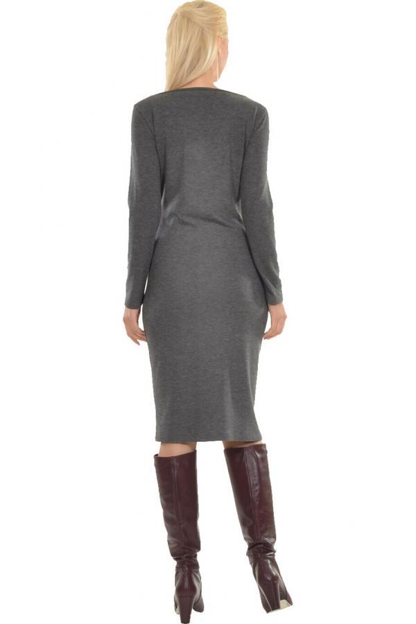 Bellino,  Φόρεμα midi πλεκτό με θηλυκό ντεκολτέ και πιέτες (ΑΝΟΙΧΤΟ ΓΚΡΙ, L)