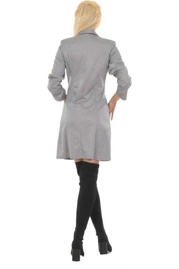 Bellino,  Φόρεμα εβαζέ με γιακά και φερμουάρ διαχωριζόμενο εμπρός (ΓΚΡΙ, L)