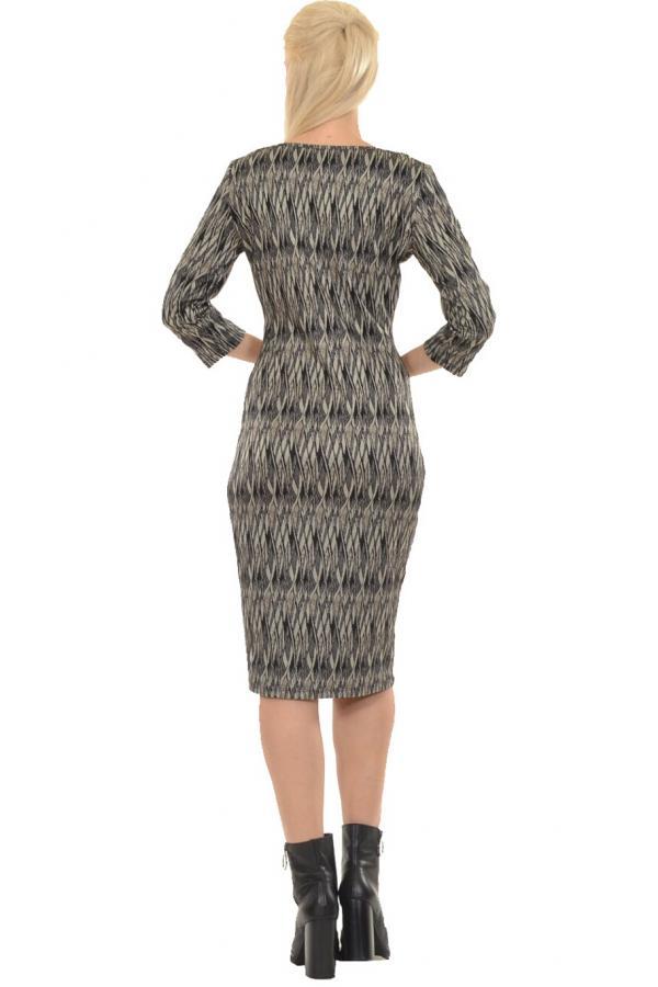 Bellino,  Φόρεμα ζακάρ ελαστικό που αγκαλιάζει το σώμα με μανίκι 3/4 (ΚΑΦΕ, L)