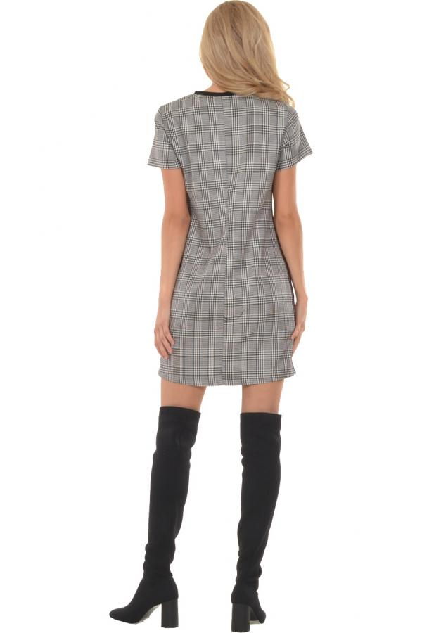 Bellino,  Φόρεμα καρό σε ριχτή γραμμή με φάσα στο λαιμό (ΜΑΥΡΟ, L)