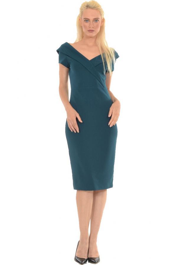 3a10c2b77f0 Bellino, Φόρεμα midi σε στενή γραμμή με θηλυκό ντεκολτέ και άνοιγμα πίσω  κάτω (ΠΡΑΣΙΝΟ