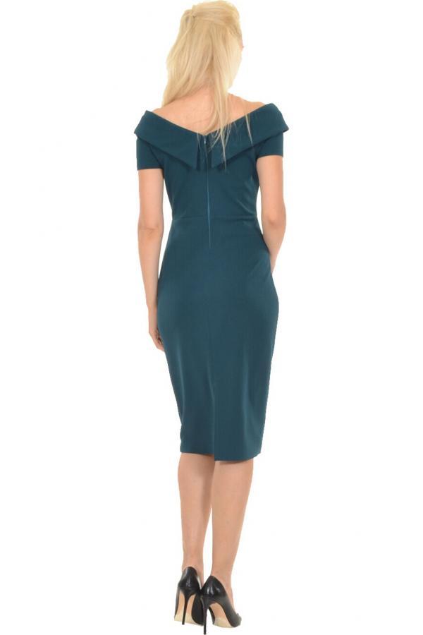 Bellino,  Φόρεμα midi σε στενή γραμμή με θηλυκό ντεκολτέ και άνοιγμα πίσω κάτω (ΠΡΑΣΙΝΟ, L)