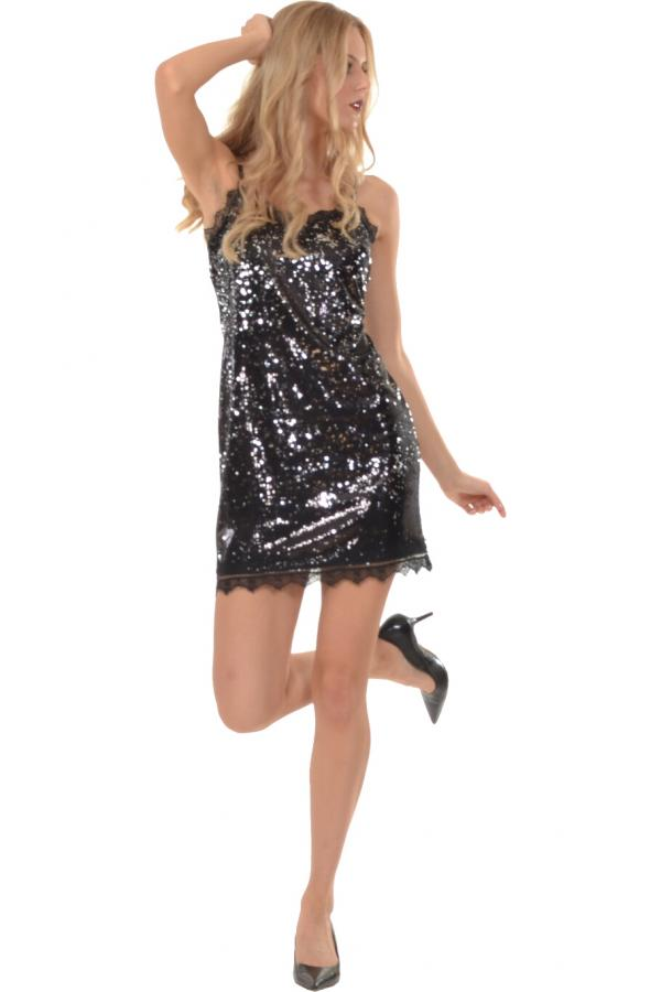 Bellino,  Φόρεμα mini σε παγιέτα με λεπτομέρειες από δαντέλα (ΜΑΥΡΟ, XL)