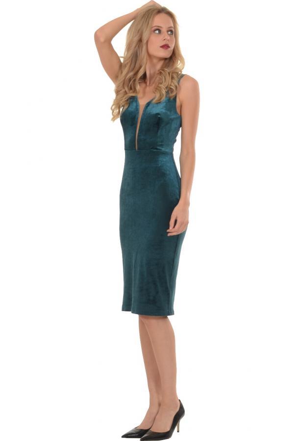 Bellino,  Φόρεμα βελούδο σε στενή γραμμή με V πλάτη (ΠΡΑΣΙΝΟ, L)