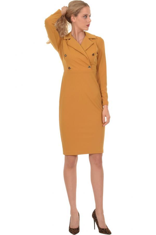 Bellino,  Φόρεμα midi σε στενή γραμμή με πέτο γιακά (ΩΧΡΑ, L)