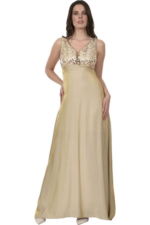 Bellino,  Φόρεμα με μπούστο από παγιέτα και αέρινη φούστα (ΧΡΥΣΟ, XL)