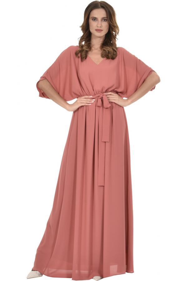 Bellino,  Φόρεμα V με νυχτερίδα μανίκι και ζώνη (ΚΕΡΑΜΙΔΙ, L)