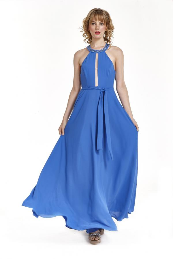 Bellino,  Φόρεμα cocktail με παρτούς ώμους (ΙΝΤΙΓΚΟ, L)