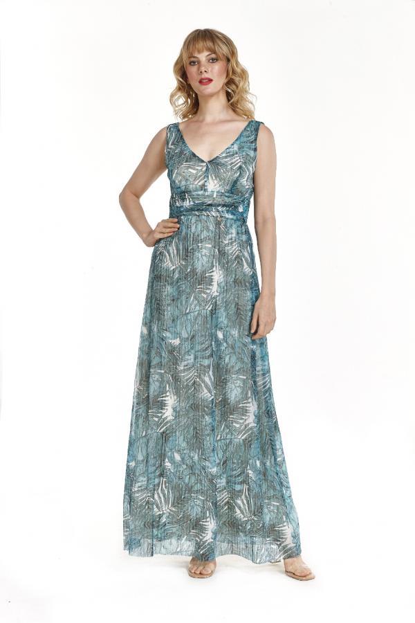 Bellino,  Φόρεμα maxi lurex με θηλυκό ντεκολτέ και ανοιχτή πλάτη (ΒΕΡΑΜΑΝ, L)