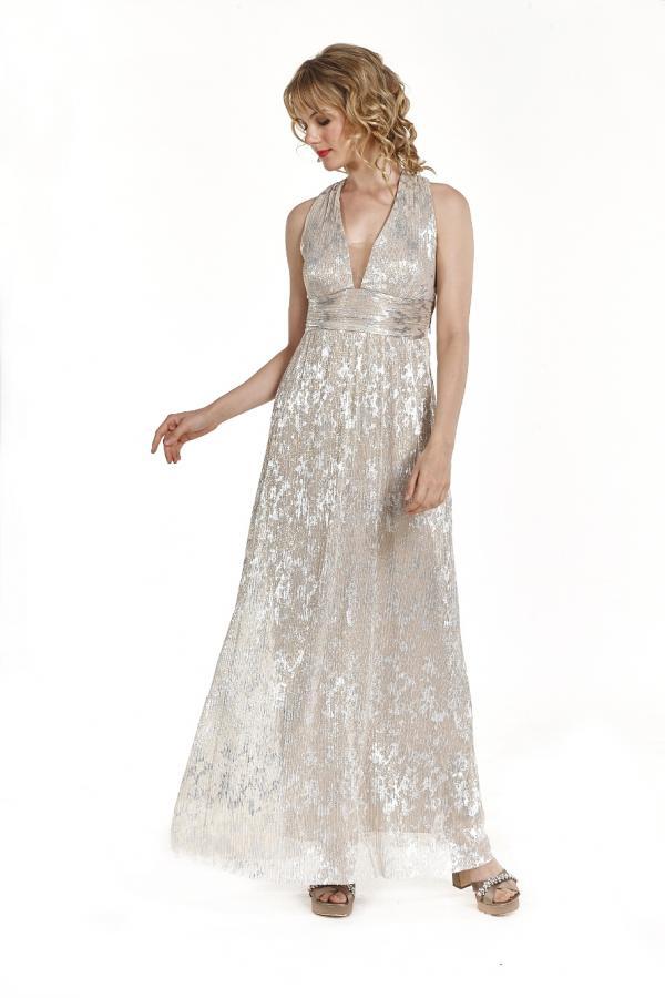 fa8f6612729 Bellino, Φόρεμα cocktail maxi με θηλυκό ντεκολτέ και χιαστί πλάτη (ΧΡΥΣΟ, L)