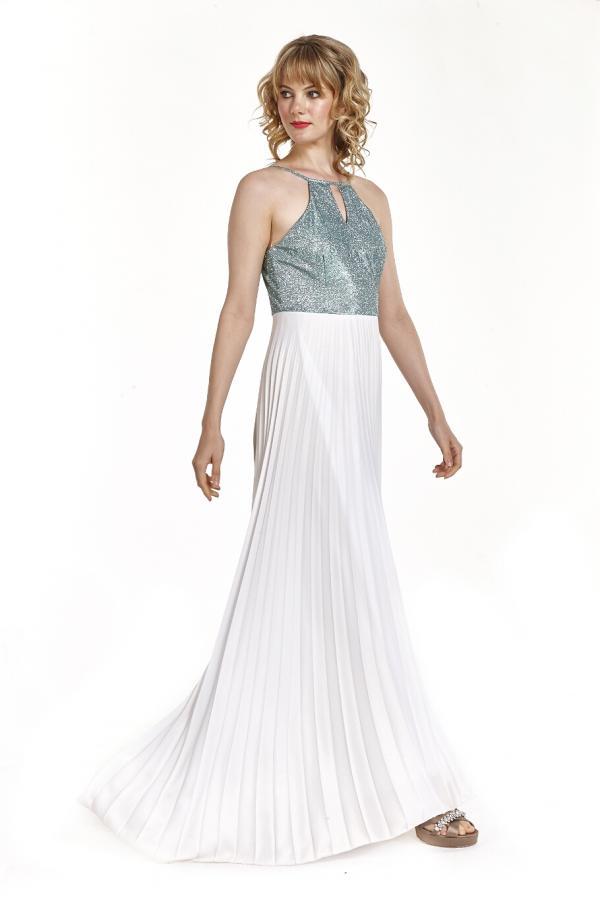 Bellino,  Φόρεμα cocktail πλισέ με θηλυκό ντεκολτέ (ΕΚΡΟΥ, M)