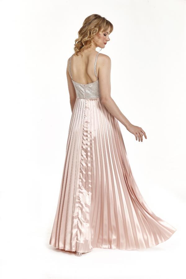 Bellino,  Φόρεμα cocktail πλισέ με θηλυκό ντεκολτέ (ΧΡΥΣΟ, L)