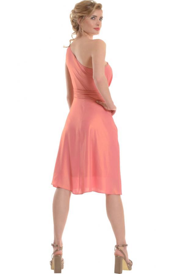 Bellino,  Φόρεμα midi lurex με έναν ώμο (ΚΟΡΑΛΙ, L)