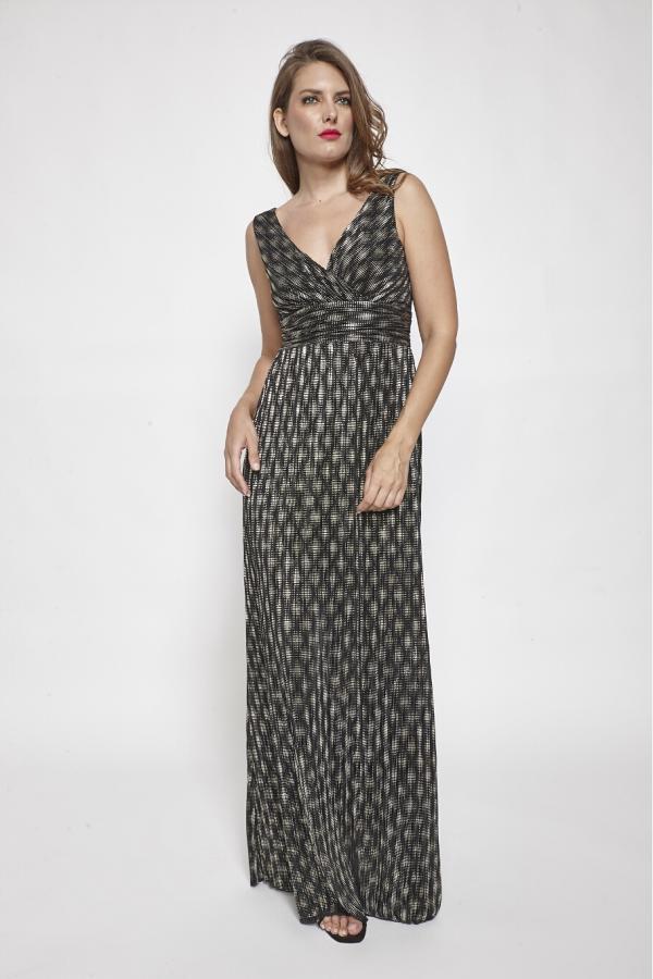Bellino,  Φόρεμα κρουαζέ πλισέ foil με ανοιχτή πλάτη (ΧΡΥΣΟ, M)
