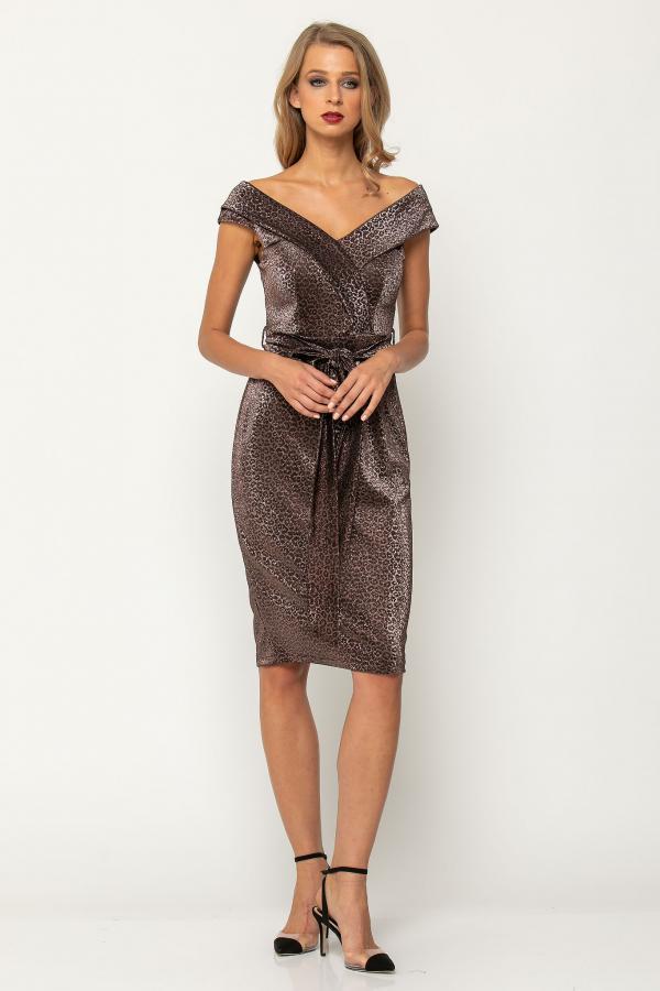 Bellino,  Φόρεμα cocktail pencil lurex με δέσιμο στη μέση (ΜΠΡΟΝΖΕ, L)