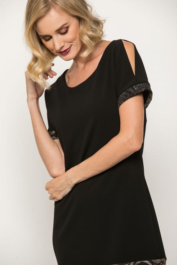 Bellino,  Φόρεμα σε άνετη γραμμή σε κρεπ ελαστικό (ΜΑΥΡΟ, M)