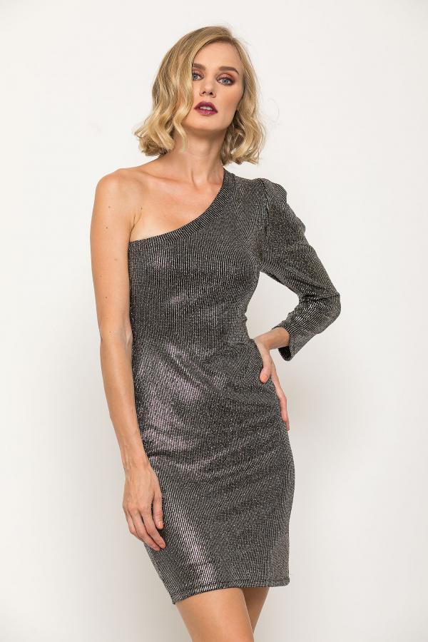 Bellino,  Φόρεμα lurex mini ελαστικό με έναν ώμο (ΧΡΥΣΟ, M)
