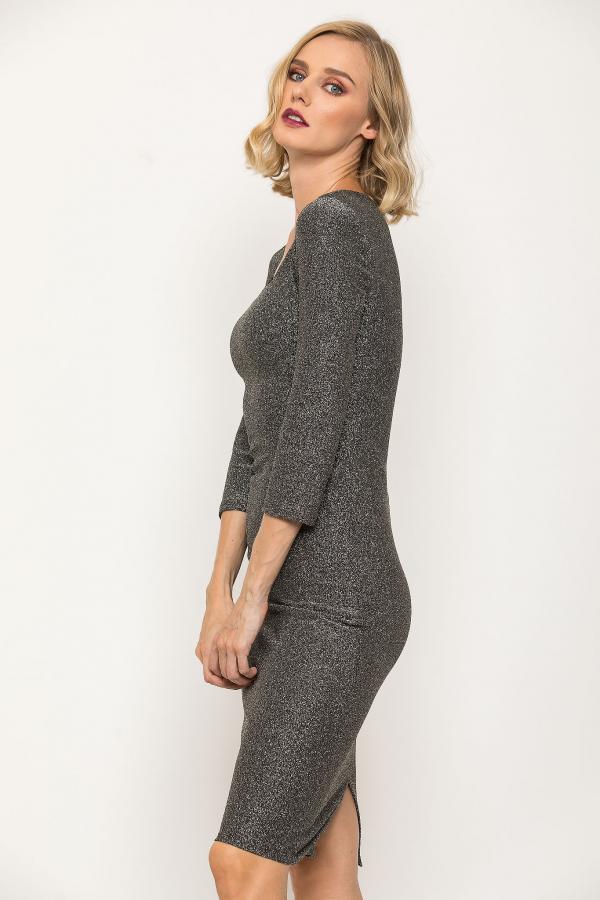 Bellino,  Φόρεμα midi lurex σε στενή γραμμή (ΑΣΗΜΙ, S)