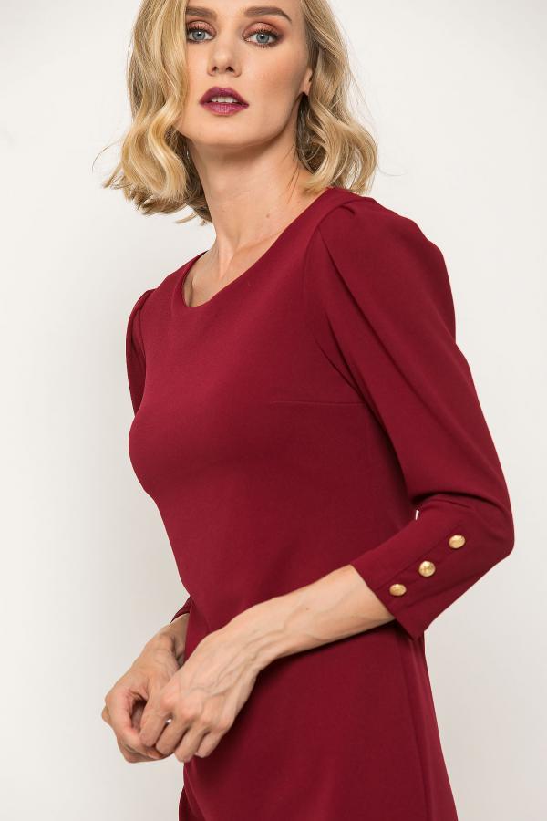 Bellino,  Φόρεμα mini σε κρεπ ελαστικό με κουμπιά στο μανίκι (ΜΠΟΡΝΤΟ, S)