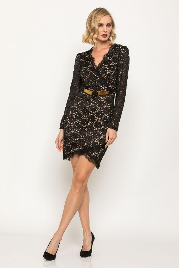 Bellino,  Φόρεμα δαντέλα κρουαζέ με μακρύ μανίκι (ΜΑΥΡΟ, XL)