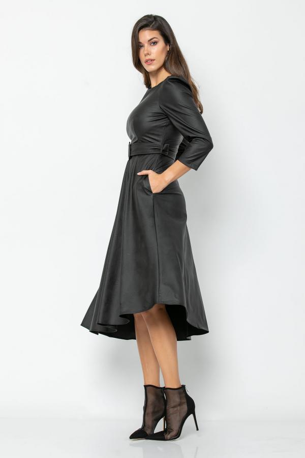 Bellino,  Φόρεμα midi ασύμμετρο σε δερματίνη με τσέπες (ΜΑΥΡΟ, S)