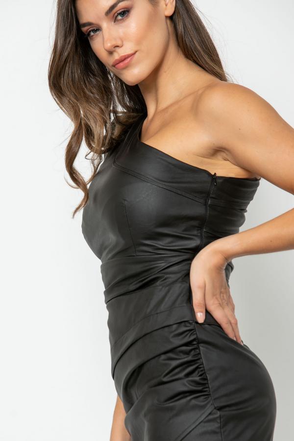 Bellino,  Φόρεμα mini στενό σε δερματίνη με ένα μανίκι (ΜΑΥΡΟ, S)
