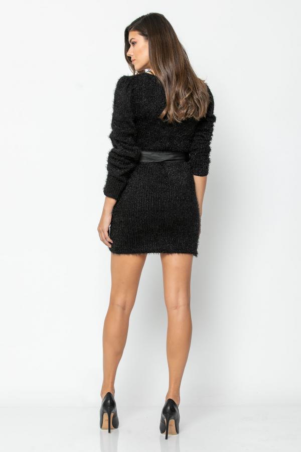 Bellino,  Φόρεμα πλεκτό κρουαζέ με ζώνη δερμάτινη (ΜΑΥΡΟ, XL)