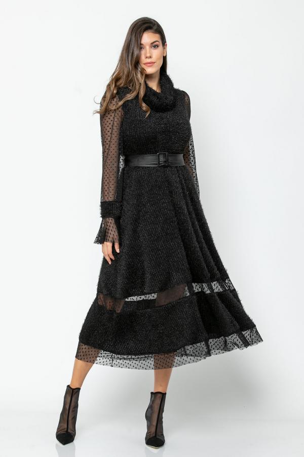 Bellino,  Φόρεμα midi πλεκτό με διαφάνειες από τούλι καρδιά (ΜΑΥΡΟ, M)