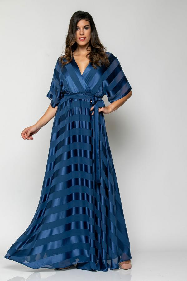 Bellino,  Φόρεμα καφτάνι ριγέ σε άνετη γραμμή (ΜΠΛΕ, L)