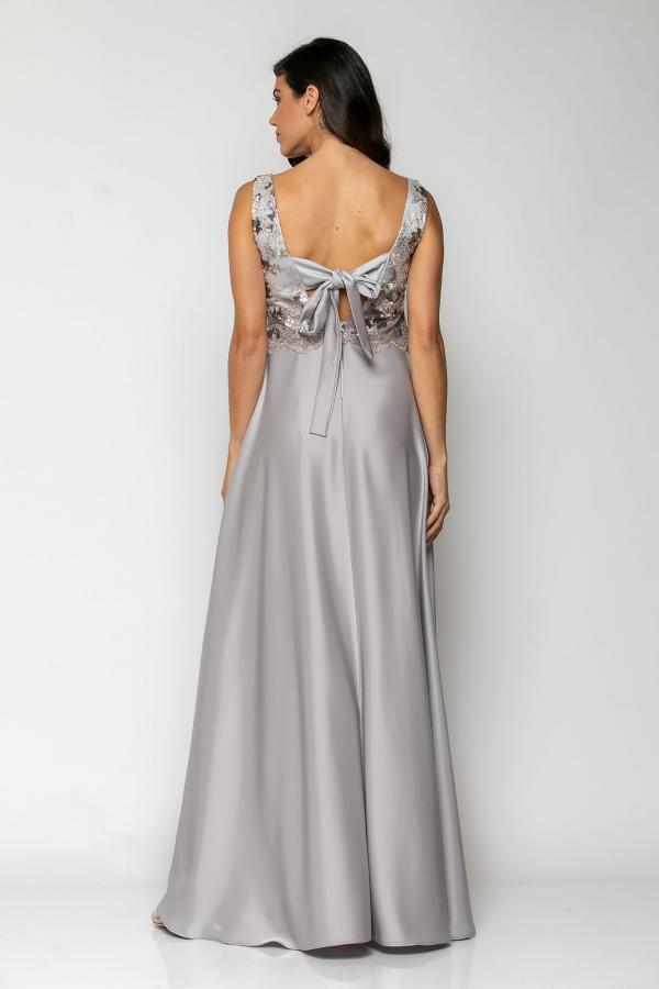 Bellino,  Φόρεμα αμπιγιέ σατέν με μπούστο κεντημένο από παγιέτα (ΑΣΗΜΙ, L)